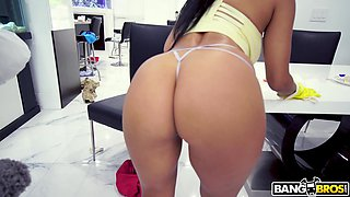 Maid Misty Quinn cleans naked and gets fucked all over the house