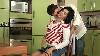 Playsome brunette maid Jade amazed by big tool