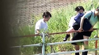 Japanese students pissing while filmed