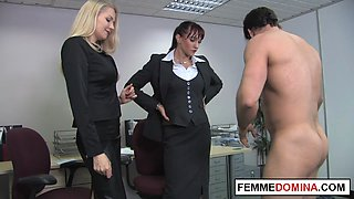Office femdoms demand oral from workplace sub