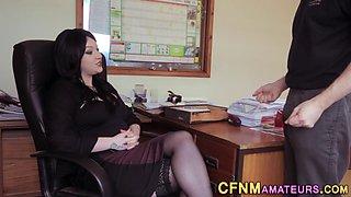 Cfnm boss big tits jizzed