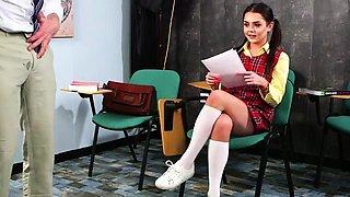 British voyeur student watching teacher wank in classroom