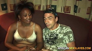 Smiling mature African is happy to be used hardcore by white guys