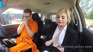 Busty blonde made instructor cum in car 6 min