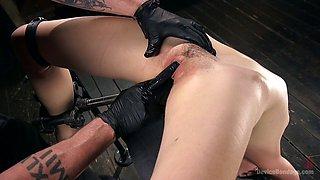 Pervert finger fucks pussy of slutty tied up bitch Lily LaBeau