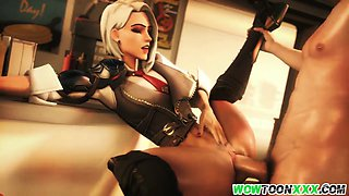 Ashe from Overwatch riding stiff fuck tool