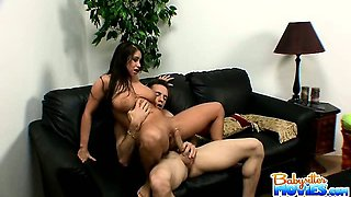 Brunette babysitter with monster tits riding on a huge