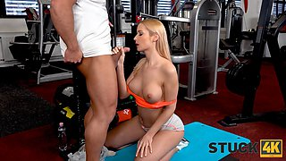 STUCK4K. Stunner is trapped which is why the kinky stud approached her
