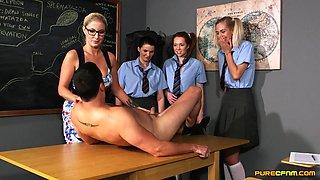 Seductive chicks share their teacher in a crazy classroom CFNM