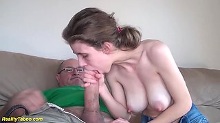 Extreme skinny big natural breast girlfriend gets rough and deep fucked by monster cock