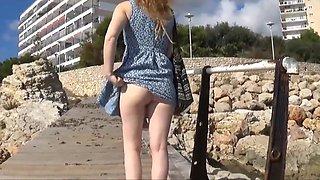 Daisy Mini Skirt No Panties Upskirt Public Pussy Flashing