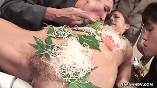 Naked sushi porn video featuring seductive Asian babe Ramu Nagatsuki