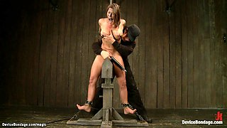 Busty MILF in device bondage wired
