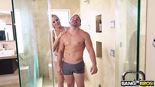 45 Year Old Housewife Washes Together With Her Stepson In The Shower