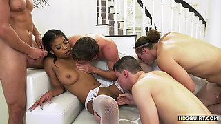Busty & squirting black beauty having fun with 4 white guys