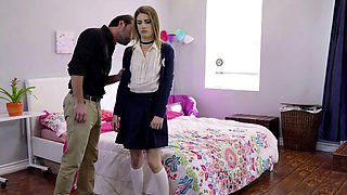 Naughty Blonde School Girl Punished by Stepdads Hard Dick