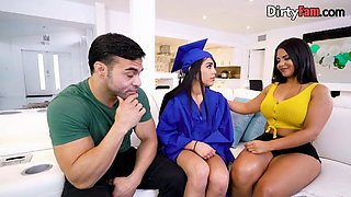 Graduating Latina fucking her step family in threesome