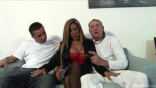 Gorgeous MILF Demi Delia attacked by two nasty fellows