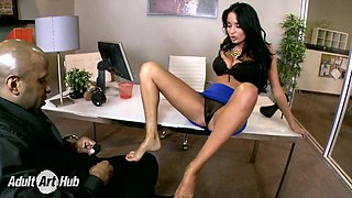 Leggy raven haired MILF Anissa Kate pleases her black boss with steamy foot job in the office