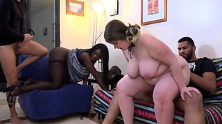 Two interracial couples swap partners in a hardcore foursome