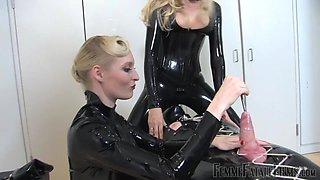 Slutty mistress Eleise de Lacy shoves a metal hod in penis head