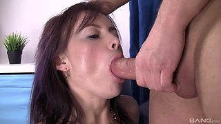Tight woman roughly fucked in the ass then made to swallow