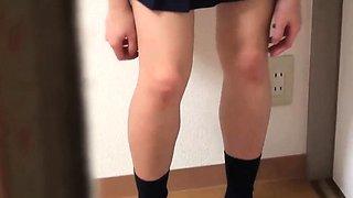 Asian teen rubs her clit