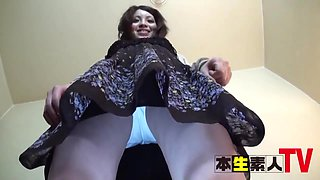 Japanese Babe With Natural Tits And Hairy Pussy Rubs Cock