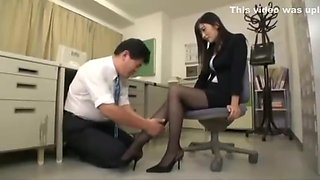 Black pantyhose office lady - Hibiki Otsuki