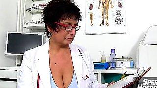 Mature woman doctor Danielle milking skinny boy sperm donor