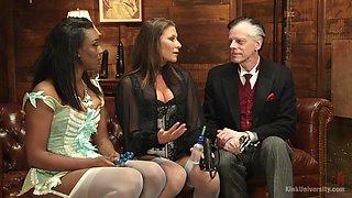 Interracial lesbian sex between pornstars Ariel X and Lisa Tiffian