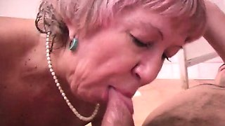 Cum swallowing granny