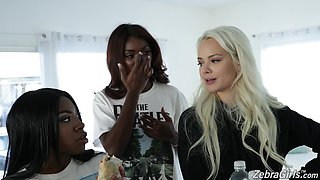 Cute Elsa Jean talking about her interracial scene with her colleagues