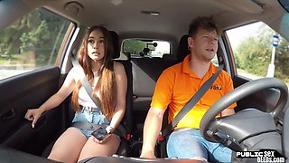 Public – Spanish babe riding driving instructor