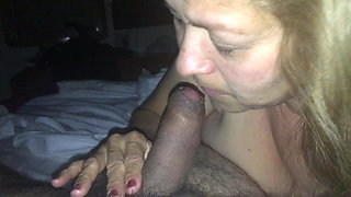 Neighbor sucking my cock