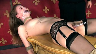 BDSM slave dildo drilled and dominated