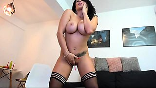 Glamour babe with big boobs masturbates in lingerie