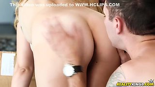Sloan Harper And Brad Knight In Lucky Delivery Boy Licks A Bald Muff Of Stunning Blonde