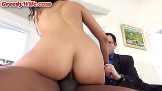 Latina milf fucked in the throat in front of her husband