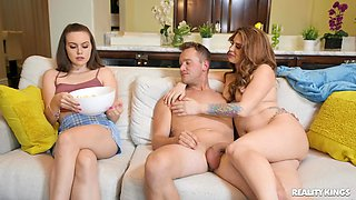 Nude mom-daughter home threesome in excellent scenes