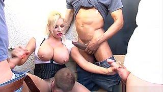Members smoking gang grope wank blowjob pantyhose cumshot with blonde slut