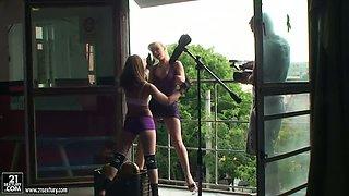 NudefightClub backstage with Aleska Diamond & Celine Doll