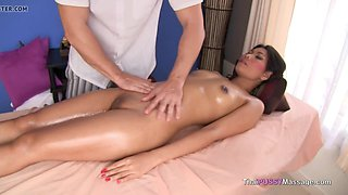 Naked Asian girl oil massage