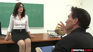 Classroom gangbang of the sluttiest teacher in the school