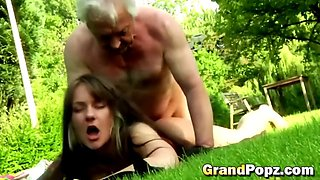 old fart is a champion who fucks cheap whores in his garden