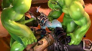3D sex of One Dark Elf cougar and three Big Orcs 3D Hentai