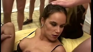 busty babe in her first gangbang