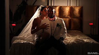 Erotic interracial fucking in the evening with busty bride Kira Queen