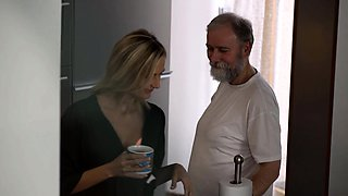 OLD4K. After drinking tea girl and her old husband have sex