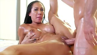 busty brunette amia miley is oiled up and fucked good